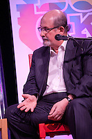 Writer Salman Rushdie discusses The Global Novel at the Dalkey Book Festival, Dalkey Town Hall, Dalkey, Dublin, Ireland. Sunday 22nd June 2014.