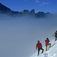 BAFFIN ISLAND, Nunavut, Canada. Jared Ogden, Mark Synnott & Alex Lowe (MR) at base of Great Sail Peak, above fog in Stewart Valley.