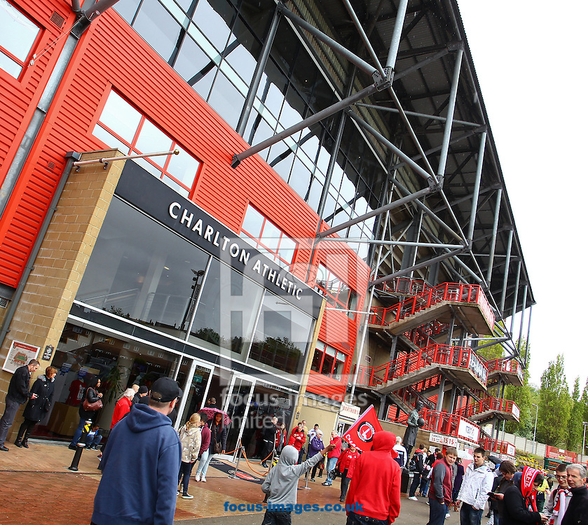 Picture by John Rainford/Focus Images Ltd. 07506 538356.05/05/12.General view of the exterior and main entrance at The Valley stadium, London.