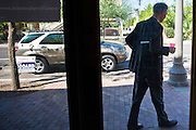 08 OCTOBER 2010 - PHOENIX, AZ: Terry Goddard walks out of his  campaign headquarters in downtown Phoenix Friday, Oct. 8. Goddard lost the election to sitting Governor Jan Brewer, a conservative Republican.     PHOTO BY JACK KURTZ