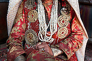 Jewellery on Gul Soon's dress - Jim Boi's wife..Summer camp of Muqur, Er Ali Boi's place...Trekking through the high altitude plateau of the Little Pamir mountains (average 4200 meters) , where the Afghan Kyrgyz community live all year, on the borders of China, Tajikistan and Pakistan.