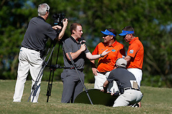 Dan Mullen and Judd Davis are interviewed by ESPN during the Chick-fil-A Peach Bowl Challenge at the Oconee Golf Course at Reynolds Plantation, Sunday, May 1, 2018, in Greensboro, Georgia. (Paul Abell via Abell Images for Chick-fil-A Peach Bowl Challenge)