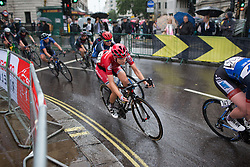 Nicole Hanselmann (SUI) of Cervélo-Bigla Cycling Team leans into a corner in the eigth lap of the Prudential Ride London Classique - a 66 km road race, starting and finishing in London on July 29, 2017, in London, United Kingdom. (Photo by Balint Hamvas/Velofocus.com)