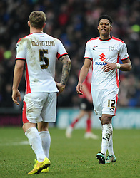 Milton Keynes Dons' Jordan Spence and Milton Keynes Dons' Kyle McFadzean  - Photo mandatory by-line: Joe Meredith/JMP - Mobile: 07966 386802 - 07/02/2015 - SPORT - Football - Milton Keynes - Stadium MK - MK Dons v Bristol City - Sky Bet League One