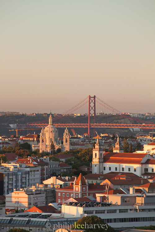 A view over the city of Lisbon, seeing Jeronimos Monastery and 25 de Abril Bridge, in Portugal