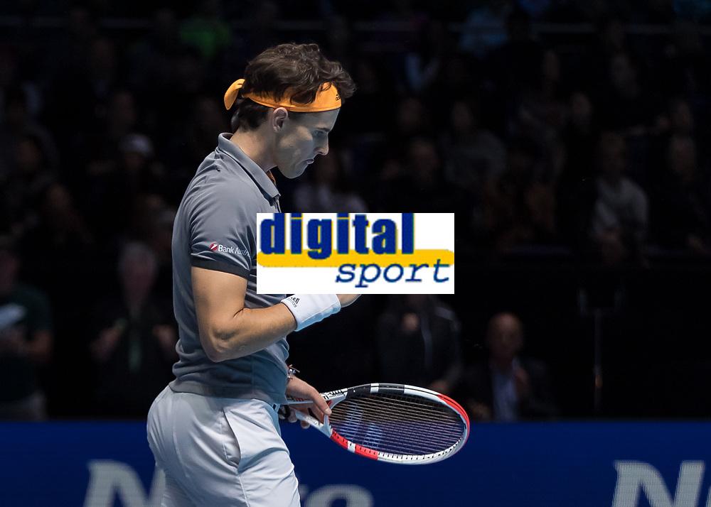 Tennis - 2019 Nitto ATP Finals at The O2 - Day One<br /> <br /> Singles Group Bjorn Borg: Roger Federer (Switzerland) vs. Dominic Thiem (Austria)<br /> <br /> Dominic Thiem (Austria) allows himself a fist pump as he closes in on beating Roger Federer (Switzerland) <br /> <br /> COLORSPORT/DANIEL BEARHAM