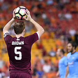 BRISBANE, AUSTRALIA - FEBRUARY 3: Corey Brown of the Roar throws in during the round 18 Hyundai A-League match between the Brisbane Roar and Sydney FC at Suncorp Stadium on February 3, 2017 in Brisbane, Australia. (Photo by Patrick Kearney/Brisbane Roar)
