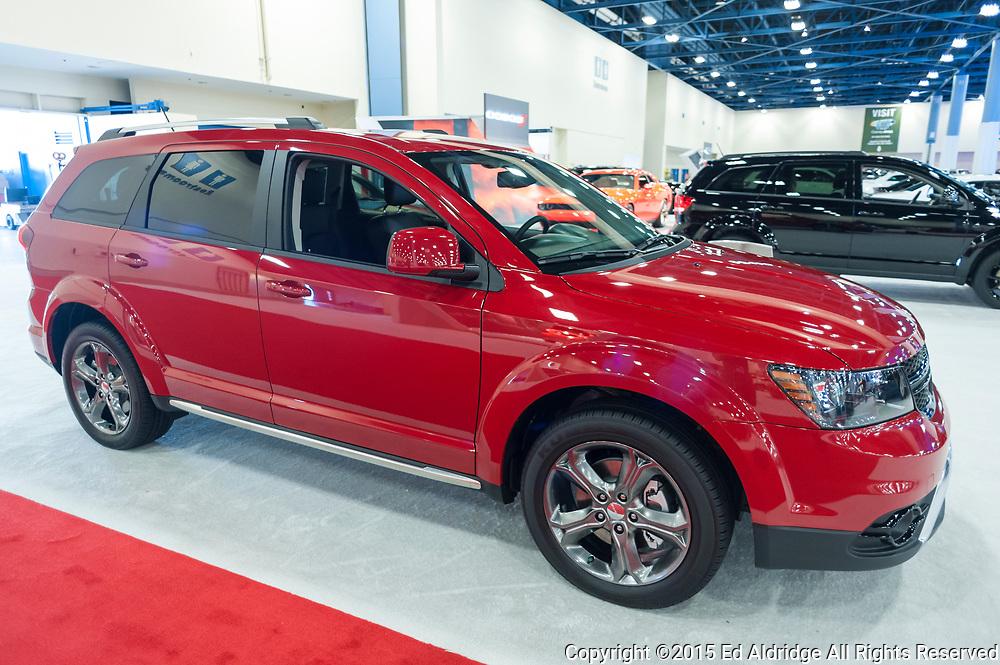 MIAMI BEACH, FL, USA - NOVEMBER 6, 2015:  Dodge Journey on display during the 2015 Miami International Auto Show at the Miami Beach Convention Center in downtown Miami Beach.