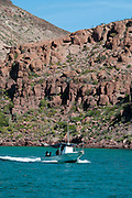 Tourists in a tour boat along Isla Partida; Jan 2010