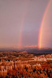 North America, United States, Utah, Bryce Canyon National Park, Double rainbow and hoodoos at dusk