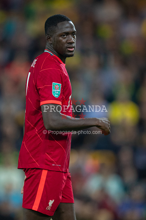 NORWICH, ENGLAND - Tuesday, September 21, 2021: Liverpool's Ibrahima Konaté during the Football League Cup 3rd Round match between Norwich City FC and Liverpool FC at Carrow Road. Liverpool won 3-0. (Pic by David Rawcliffe/Propaganda)