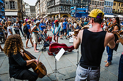 Student musicians playing for tourists outside the Cathedral in Strasbourg, Alsace, France<br /> <br /> (c) Andrew Wilson   Edinburgh Elite media