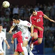Turkish soccer National team between Georgia. Turkey's Hakan UNSAL(R) during their in Avni Aker Stadium Trabzon/Istanbul/Turkey.<br /> Photo by Aykut AKICI/TurkSporFoto