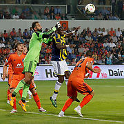Istanbul Basaksehir's goalkeeper Volkan Babacan (2ndL) and Fenerbahce's Moussa Sow (2ndR) during their Turkish Super League soccer match Istanbul Basaksehir between Fenerbahce at the Basaksehir Fatih Terim Arena at Basaksehir in Istanbul Turkey on Monday, 25 May 2015. Photo by Aykut AKICI/TURKPIX