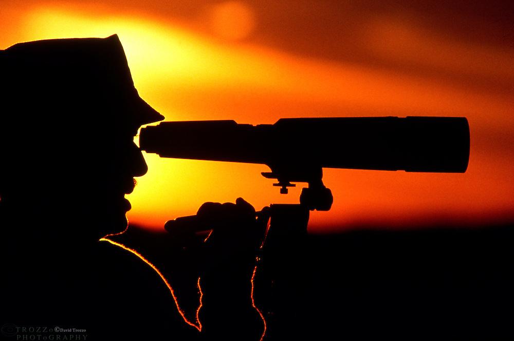 Bird watcher at sunset.