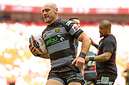 Hull FC loose forward and captain Gareth Ellis (13) warming up  during the Ladbrokes Challenge Cup Final 2017 match between Hull RFC and Wigan Warriors at Wembley Stadium, London, England on 26 August 2017. Photo by Simon Davies.
