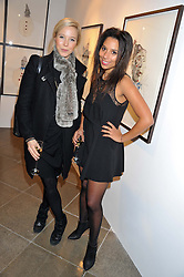 Left to right, KENDAL OWENS and AJ JACOBS at a private view of jewellery by Eugenie Nairchos and Noor Fares entitled Galactic Garden held at Shizaru Mayfair, 112 Mount Street, London on 5th December 2012.