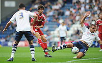 Middlesbrough's Diego Fabbrini has his shot blocked by Preston North End's John Welsh<br /> <br /> Photographer Kevin Barnes/CameraSport<br /> <br /> Football - The Football League Sky Bet Championship - Preston North End v Middlesbrough -  Sunday 9th August 2015 - Deepdale - Preston<br /> <br /> © CameraSport - 43 Linden Ave. Countesthorpe. Leicester. England. LE8 5PG - Tel: +44 (0) 116 277 4147 - admin@camerasport.com - www.camerasport.com
