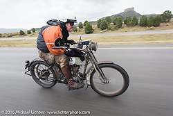 Dean Bordigioni of California riding his Class-1 single-cylinder single-speed 1914 Harley-Davidson down the west side of Wolf Creek Pass during the Motorcycle Cannonball Race of the Century. Stage-10 ride from Pueblo, CO to Durango, CO. USA. Tuesday September 20, 2016. Photography ©2016 Michael Lichter.