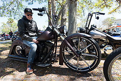 Len Kodlin of Fred Kodlin Cycles in Borken Germany, shipped his custom Harley-Davidson, that he personally painted and fabricated, to the US so he could ride it during Daytona Bike Week. Ormond Beach, FL. USA. Thursday March 16, 2017. Photography ©2017 Michael Lichter.