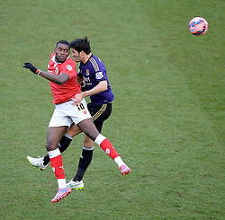 Bristol City's Jay Emmanuel-Thomas flicks the ball on. - Photo mandatory by-line: Alex James/JMP - Mobile: 07966 386802 - 25/01/2015 - SPORT - Football - Bristol - Ashton Gate - Bristol City v West Ham United - FA Cup Fourth Round