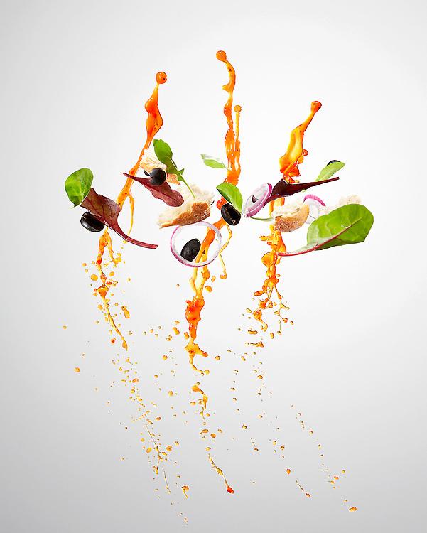 Healthy salad recipe action shots.