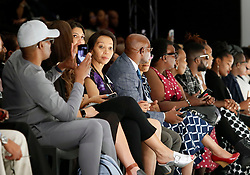 241018 South African Business woman Bridgette Radebe (looking towards the picture) and a sister to a mining magnet Patrice Motsepe attended the 2nd day of 21st SA Fashion week held in Sandton North of Johannesburg, this particular show shoaw cased BRICS.Photo Simphiwe Mbokazi/Africa News Agency/ANA
