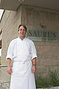 Boris Walker the Swiss chef and manager in the restaurant. Bodega Familia Schroeder Winery, also called Saurus, Neuquen, Patagonia, Argentina, South America
