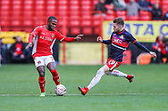Charlton Athletic midfielder Mark Marshall (7) and Doncaster Rovers forward Alfie May (19) during the The FA Cup 2nd round match between Charlton Athletic and Doncaster Rovers at The Valley, London, England on 1 December 2018. Photo by Toyin Oshodi