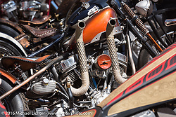 Interesting exhaust pipes on an HD Panhead in the Harley-Davidson Editors Choice bike show at the Broken Spoke Saloon. Daytona Bike Week 75th Anniversary event. FL, USA. Wednesday March 9, 2016.  Photography ©2016 Michael Lichter.