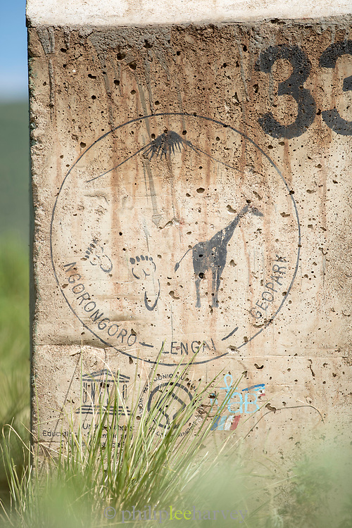 Close-up of a stone sign in the Ngorongoro Geo Park, Tanzania