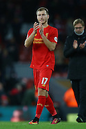 Ragnar Klavan of Liverpool applauds the fans after the game. Premier League match, Liverpool v West Ham Utd at the Anfield stadium in Liverpool, Merseyside on Sunday 11th December 2016.<br /> pic by Chris Stading, Andrew Orchard sports photography.