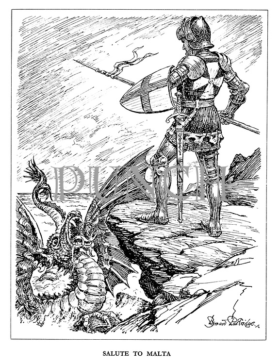 Salute to Malta. (Saint George stands on the cliff edge after having just killed the dragon)