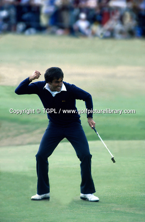 Seve BALLESTEROS (SPN) celebrates victory with his now iconic fist pump celebration after making a dramatic birdie at the 18th par 4 to beat during fourth round The Open Championship 1984,St.Andrews,Old Course, St.Andrews, Fife, Scotland.1 of 3 frame sequence.