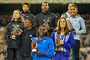 Winners of the 2019 Diamond League Trophies, Dina Asher-Smith (Great Britain) Women's 100m, Malaika Mihambo (Germany) Women's Long Jump, Ajee Wilson (USA) Women's 800m, Orlando Ortega (Spain), Men's 110m Hurdles, Danielle Williams (Jamaica) Women's 100m Hurdles, Mariya Lasitskene (Authorised Neutral Athlete) Women's High Jump, Katerina Stefanidi (Greece) Women's Pole Vault, at the IAAF Diamond League event at the King Baudouin Stadium, Brussels, Belgium on 6 September 2019.