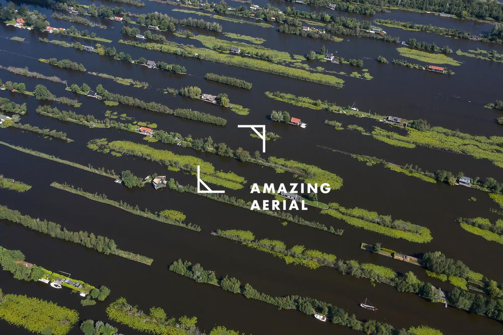Aerial view of floating village in Scheendijk, Stichtse Vecht, Utrecht, Netherlands.