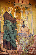 Byzantine mosaics at the Palatine Chapel ( Capella Palatina ) Norman Palace Palermo, Sicily, Italy Saint Paul Being baptized. .<br /> <br /> If you prefer you can also buy from our ALAMY PHOTO LIBRARY  Collection visit : https://www.alamy.com/portfolio/paul-williams-funkystock/byzantine-art-antiquities.html . Type -    Palatine     - into the LOWER SEARCH WITHIN GALLERY box. Refine search by adding background colour, place, museum etc<br /> <br /> Visit our BYZANTINE MOSAIC PHOTO COLLECTION for more   photos  to download or buy as prints https://funkystock.photoshelter.com/gallery-collection/Roman-Byzantine-Art-Artefacts-Antiquities-Historic-Sites-Pictures-Images-of/C0000lW_87AclrOk