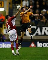 Photo: Steve Bond/Sportsbeat Images.<br />Wolverhampton Wanderers v Bristol City. Coca Cola Championship. 03/11/2007. Bradley Orr (L) loses out to Matt Jarvis (R)