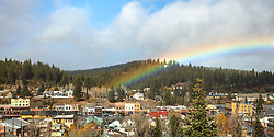 """""""Rainbow Above Downtown Truckee 1"""" - Panoramic photograph of historic Downtown Truckee, California with a big rainbow above it."""