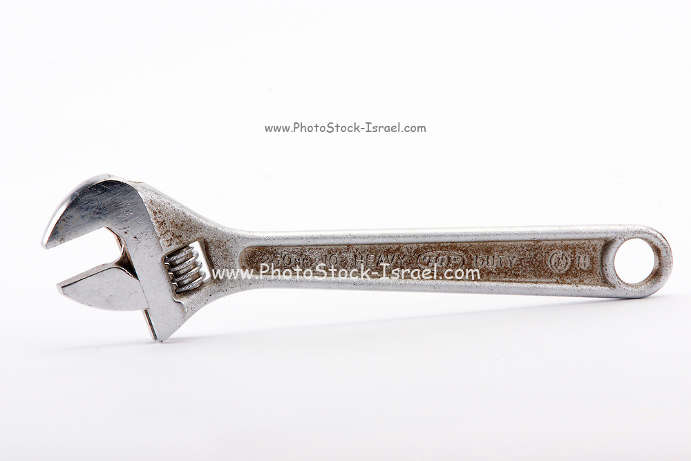 adjustable wrench on white background