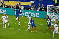 PARIS, FRANCE - Sunday, July 3, 2016: France's Paul Pogba scores the second goal against Iceland during the UEFA Euro 2016 Championship Semi-Final match at the Stade de France. (Pic by Paul Greenwood/Propaganda)