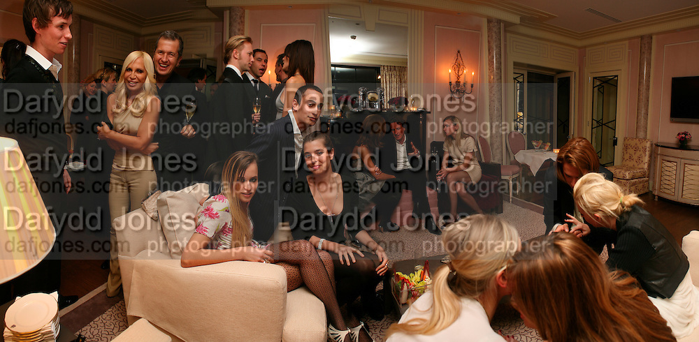 EDDIE REDMAYNE, DONATELLA VERSACE, MARIO TESTINO, ALICE DELLAL, ALEX DELLAL  AND CHARLOTTE CASIRAGHI, Dinner hosted by Elizabeth Saltzman for Donatella Versace. Claridge's Hotel, Brook Street, Mayfair, London. 11 March 2008.