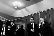 Il Segretario del Tesoro degli Stati Uniti, Steven Mnuchinli, incontra il Ministro dell'Economia italiano, Pier Carlo Padoan, durante il bilaterale in vista del G7 dei Ministri delle Finanze. Bari 11 Maggio 2017. Christian Mantuano / OneShot<br /> <br /> US Secretary of Treasury Steven Mnuchin (L) poses with Italy's Finance minister Pier Carlo Padoan during a bilateral meeting ahead of a G7 summit of Finance Ministers on May 11, 2017 in Bari. Christian Mantuano / OneShot