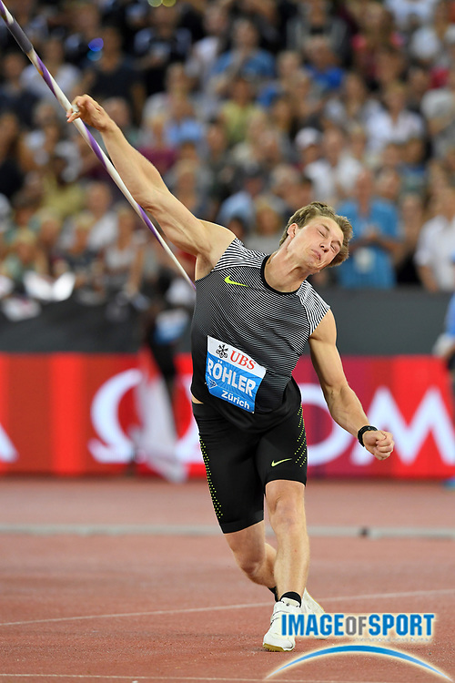 Sep 1, 2015; Zurich, SWITZERLAND; Thomas Rohler (GER) places second in the javelin at 284-0 (86.56m) at the 2016 Weltklasse Zurich during an IAAF Diamond League meeting at Letzigrund Stadium. Photo by Jiro Mochizuki