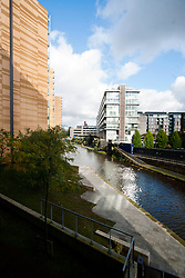 Manchester Bridgewater Canal viewed from a Saint Georges Island apartment block..29  September 2012.Image © Paul David Drabble