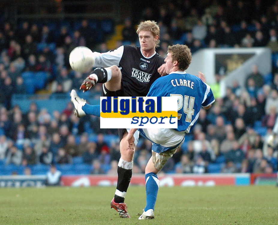 Photo: Ashley Pickering.<br />Ipswich Town v Swansea City. The FA Cup. 27/01/2007.<br />Ipswich's Billy Clarke and Swansea's Alan Tate