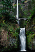Multnomah Falls, Columbia Gorge, Oregon.  The first view of Larch Mountain is it's lowest cliff, 620 feet to the second drop, and the water comes down the face of it in two elegant tiers.  The trail up is graced by a footbridge across the upper pool, a flat spot to catch your breath and stand in the spray.  This is nearly the end of Multnomah Creek, starting some miles above and washing into the Columbia River, not that far behind me.  It is a green place, dense with life, nurtured by the constant shower and the frequent storms that roll inland from the Pacific.  After this I will climb to follow the fall's source, into the green to let it crowd some of the desert out of me.  And maybe when I come back, hot from the exertion, I'll stand on the bridge and let the mist from the first tier wash me clean.