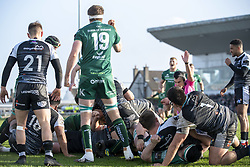 March 2, 2019 - Galway, Ireland - Tom McCartney of Connacht scores a try during the Guinness PRO 14 match  between Connacht Rugby and Ospreys at the Sportsground in Galway, Ireland on March 2, 2019  (Credit Image: © Andrew Surma/NurPhoto via ZUMA Press)