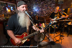 The Swamp Juice Band performed in Sopotniks Cabbage Patch Bar during the Wednesday festivities. Daytona Bike Week. FL, USA. March 12, 2014.  Photography ©2014 Michael Lichter.