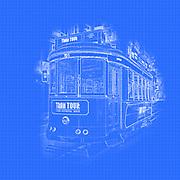 Digitally enhanced image of a tram in Lisbon, Portugal
